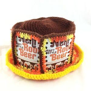 Crochet hat vintage root beer can knit pork pie